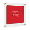 Lucite Certificate Display Frame Clear Floating Double Panel Acrylic Picture Frame, 8x10-Inch, Gold Hardware