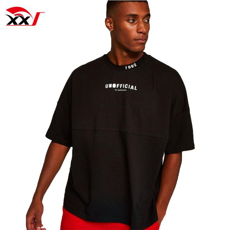 Städtischen kleidung individuelle t-shirts mit custom label mens übergroßen t-shirt streetwear drop schulter t-shirt