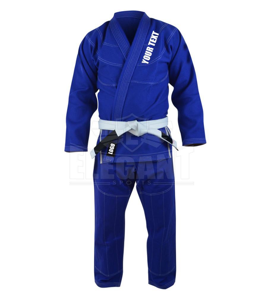 100/% Cotton Blue w Flags Free Shipping Jiu Jitsu Gi Kids // Youth BJJ Uniform