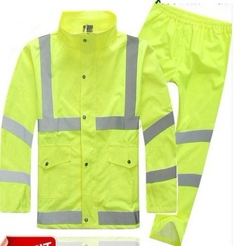 Polyester Reflective Green Safety Rain Coat Jackets Clothing for Sale 51b9577aeb3