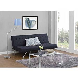 Fabric Convertible Futon Folding Sofa Bed Couch, Small Double Sleeper Size, Adjustable , Wood Frame, Small Apartments, Overnight Guest, Living Room, Family Room, + Expert Guide (Navy)