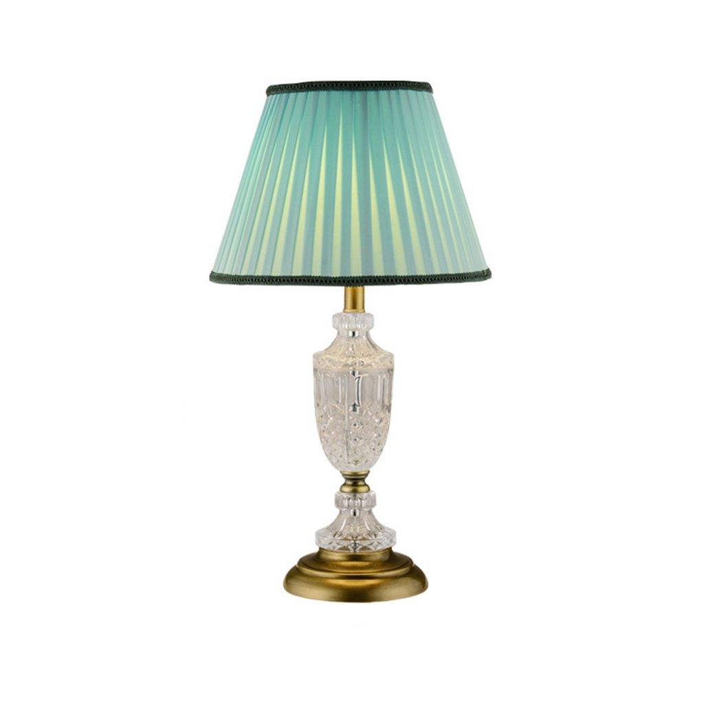Baoduohui Crystal table lamp, European style desk lamp, creative personality simple modern bedroom table lamp, antique art gift desk lamp interface: E27 blue