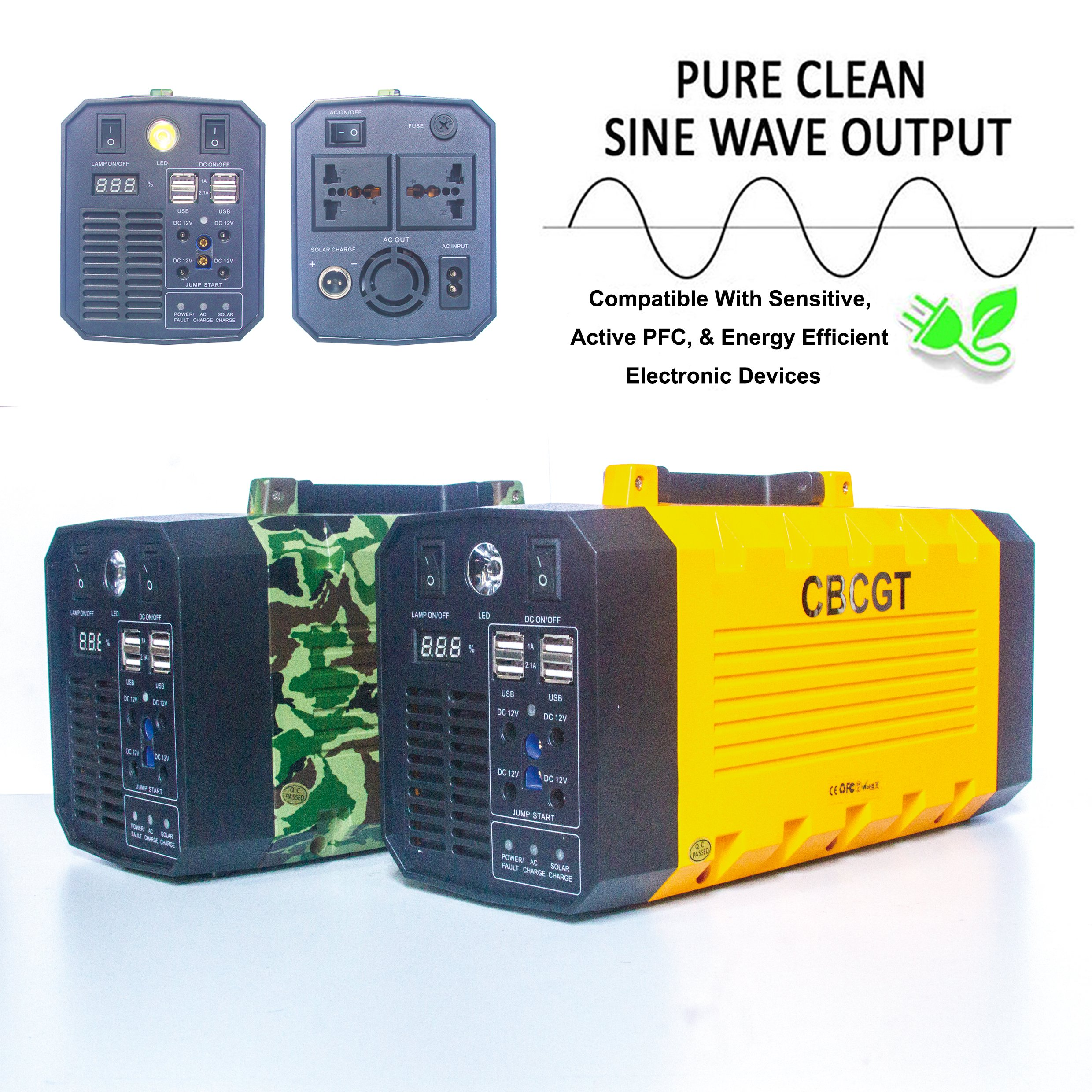 CBCGT Pure Sine Wave Portable Uninterruptible Power Supply 500W (Peak 1000W) UPS Power Backup with Built-in 26AH Lithium Battery Solar generatorar with Car Jump Starter USB DC AC Device