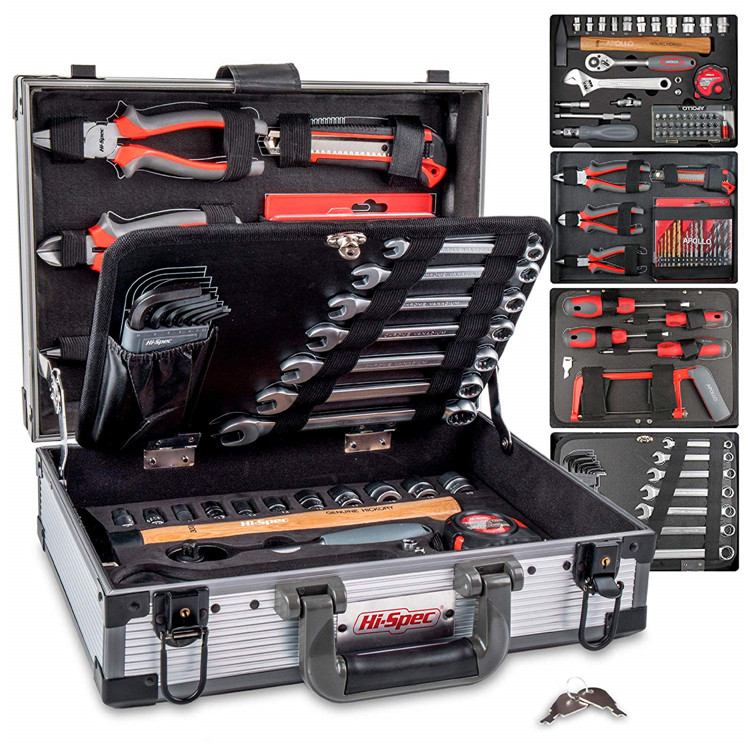 Hi-Spec 91 Piece Chrome Vanadium Tool Box Set With Most-Reached for Home & Garage Repair Hand Tools in a Aluminum Tool Case Kit