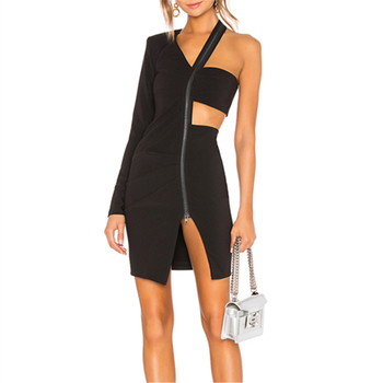 Black One Sleeve Zipper Sexy Dress Formal Going Out Dresses For