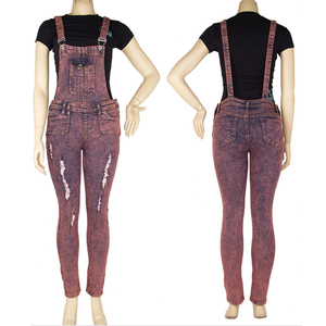 stretch denim jumpsuit for women long pink jumpers snow wash with ripped