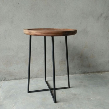 Rustic Metal Wooden Side Table Clic Round Wood