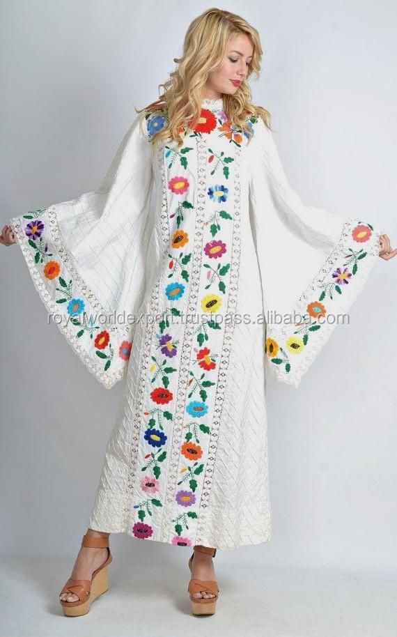 comprar online diseño innovador muy elogiado Playa kaftan vestido, blanco y multicolor mariposa, bordado mexicano  mexicana boda, Boho full mangas vestidos,