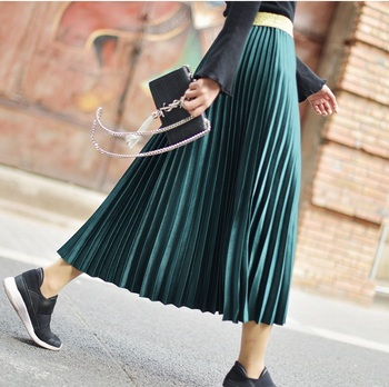 ZH1037B High quality  hot sale new fashion Metallic satin wrinkled pleated women  long skirt