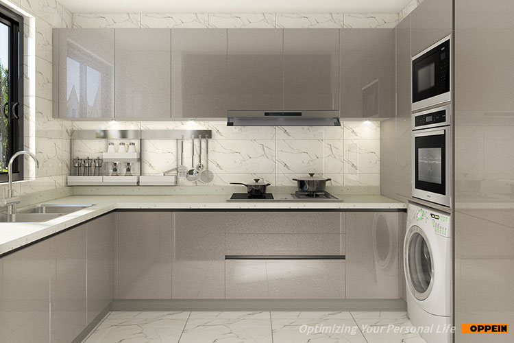 OPPEIN modern design high end kitchen cabinets with clean handle-less look