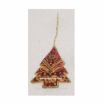 zari embroidery tree shape christmas ornament - Embroidered Christmas Ornaments