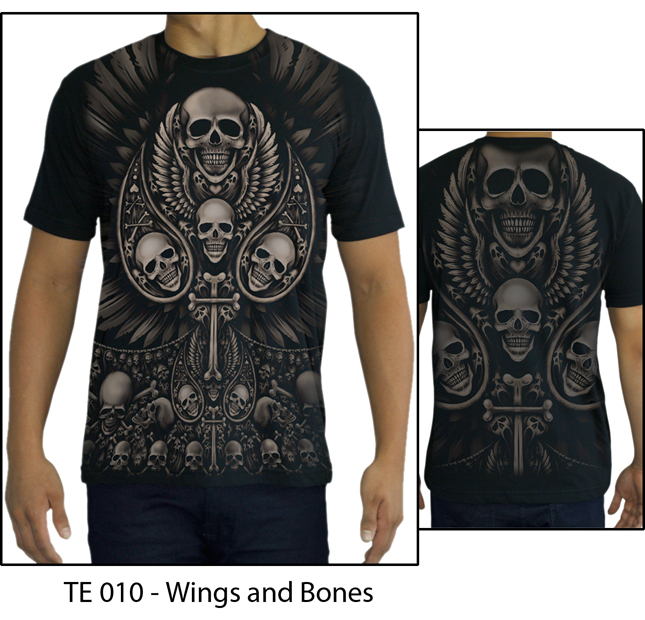 High Quality Cotton Printed T-shirt - TATTOO - SKULL - WINGS AND BONES