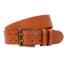 "Mens Casual Belts Genuine Leather Coloured 1-1/3"" With Gold&Chrome Plate"