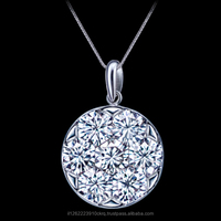 18k White Gold Diamond Pendant Set Invisibly Together to Create The Appearance Of a Single Large Diamond Total 0.26 Carat