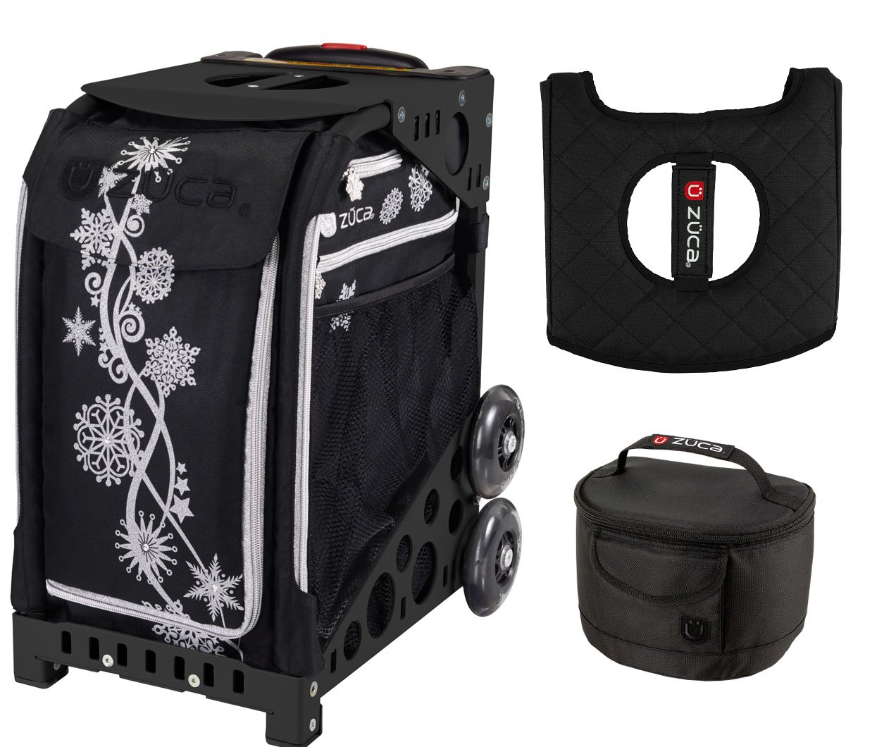 Zuca Sport Bag - Silver Shimmer with Gift Lunchbox and Seat Cover (Black Frame)