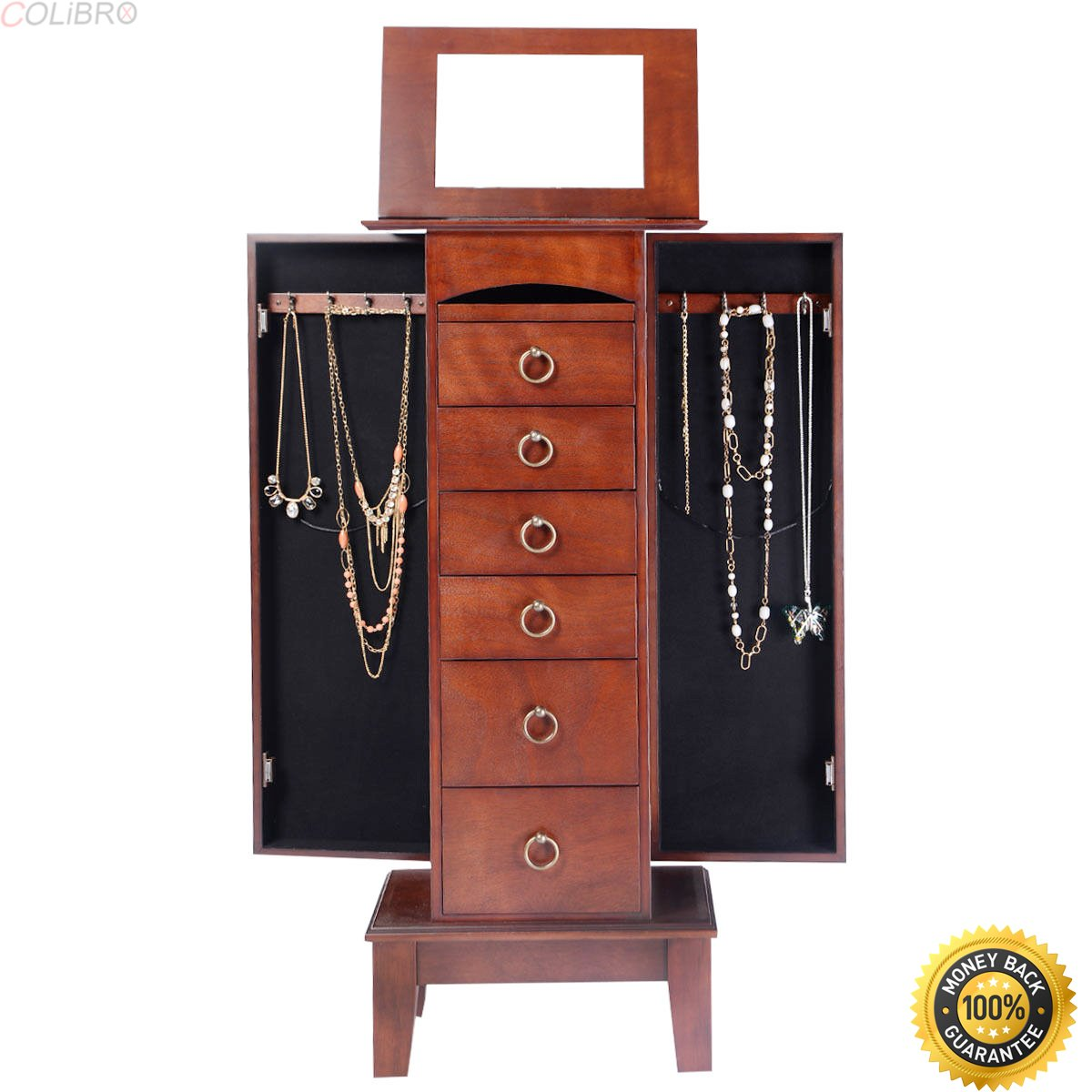 Get Quotations · COLIBROX Wood Jewelry Cabinet Armoire Storage Box Chest  Stand Organizer Christmas Gift,locking Jewelry Armoire