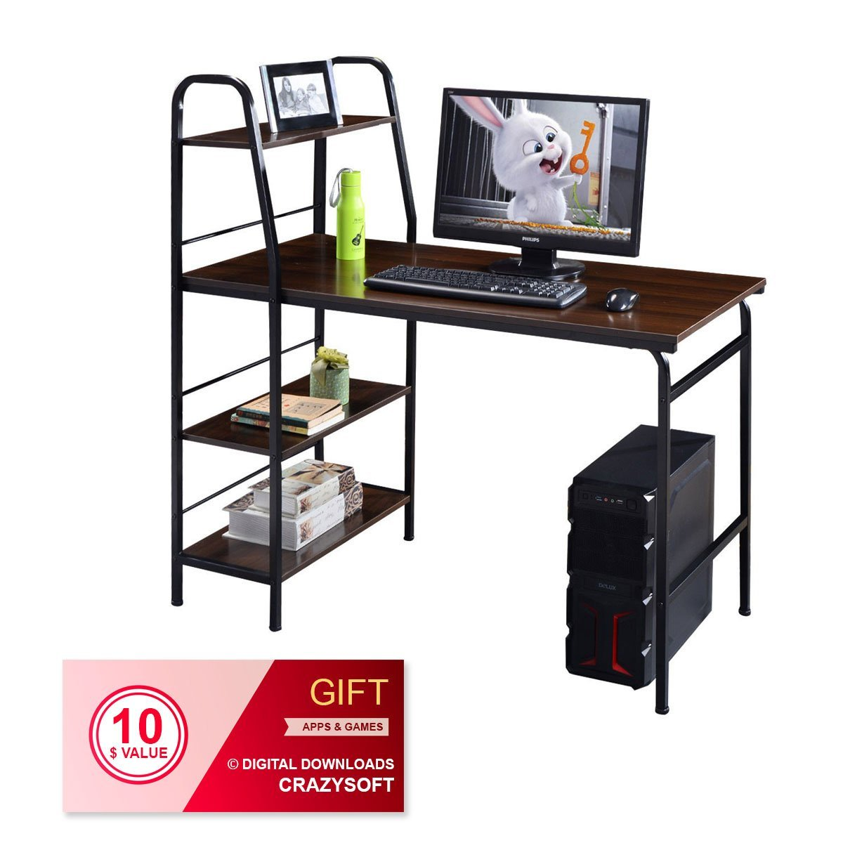 "48"" Multi-Function Computer Desk with 4-Tier Shelf - By Choice Products"