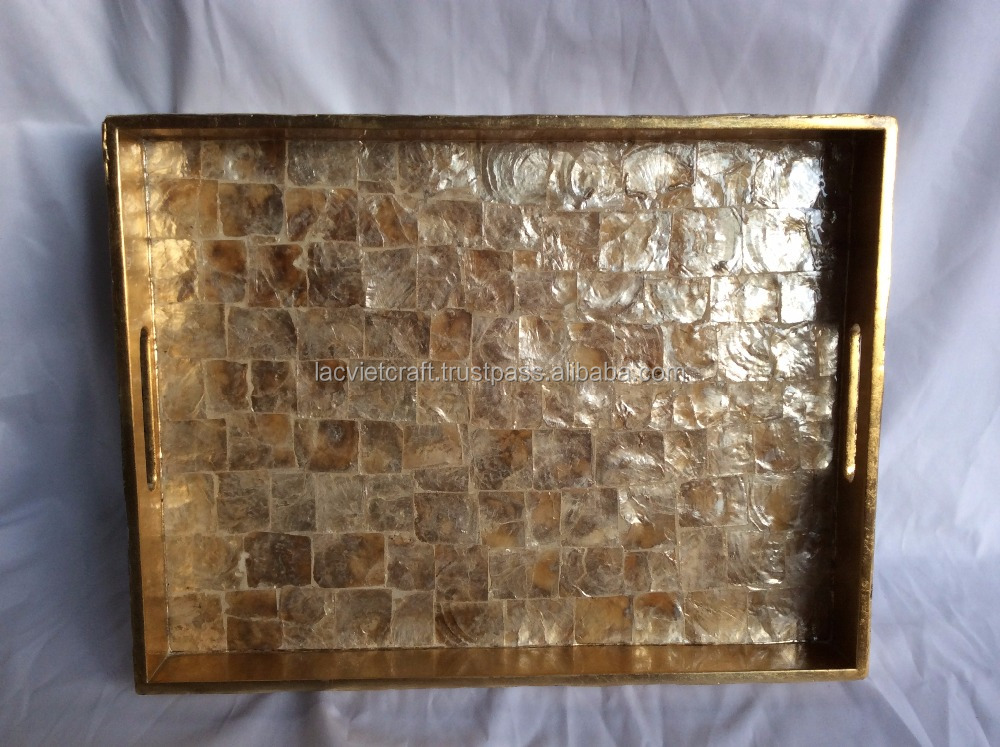 High quality best selling eco friendly MOP rectangular gold trays from Viet Nam