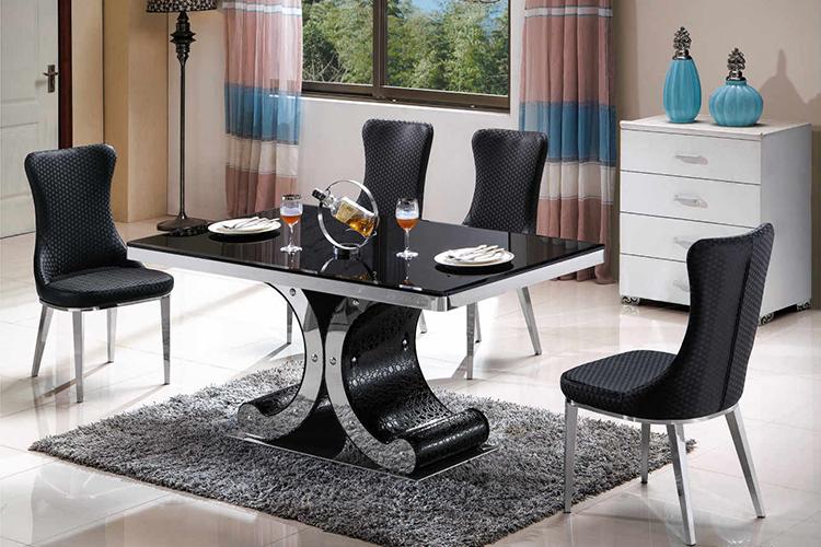 Maleisië Hot Koop Zwarte Rechthoek Marmeren Staal Base Eettafel Set ...