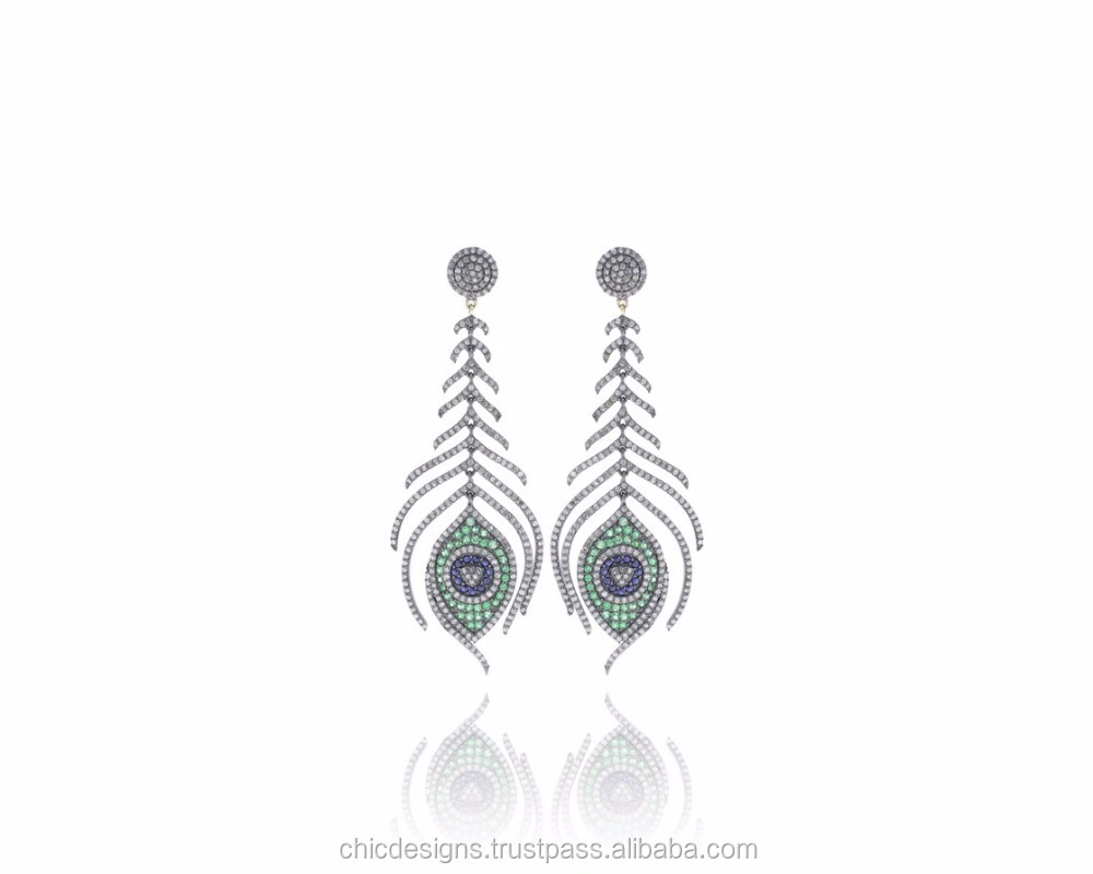 Tsavorite And Blue Sapphire Gemstone Father Earrings, Pave Diamond 925 Sterling Silver Dangle Earrings, 14K Yellow Gold Jewelry