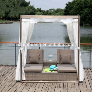 Promotional leisure outdoor furniture plastic rattan wicker daybed with canopy for poolside