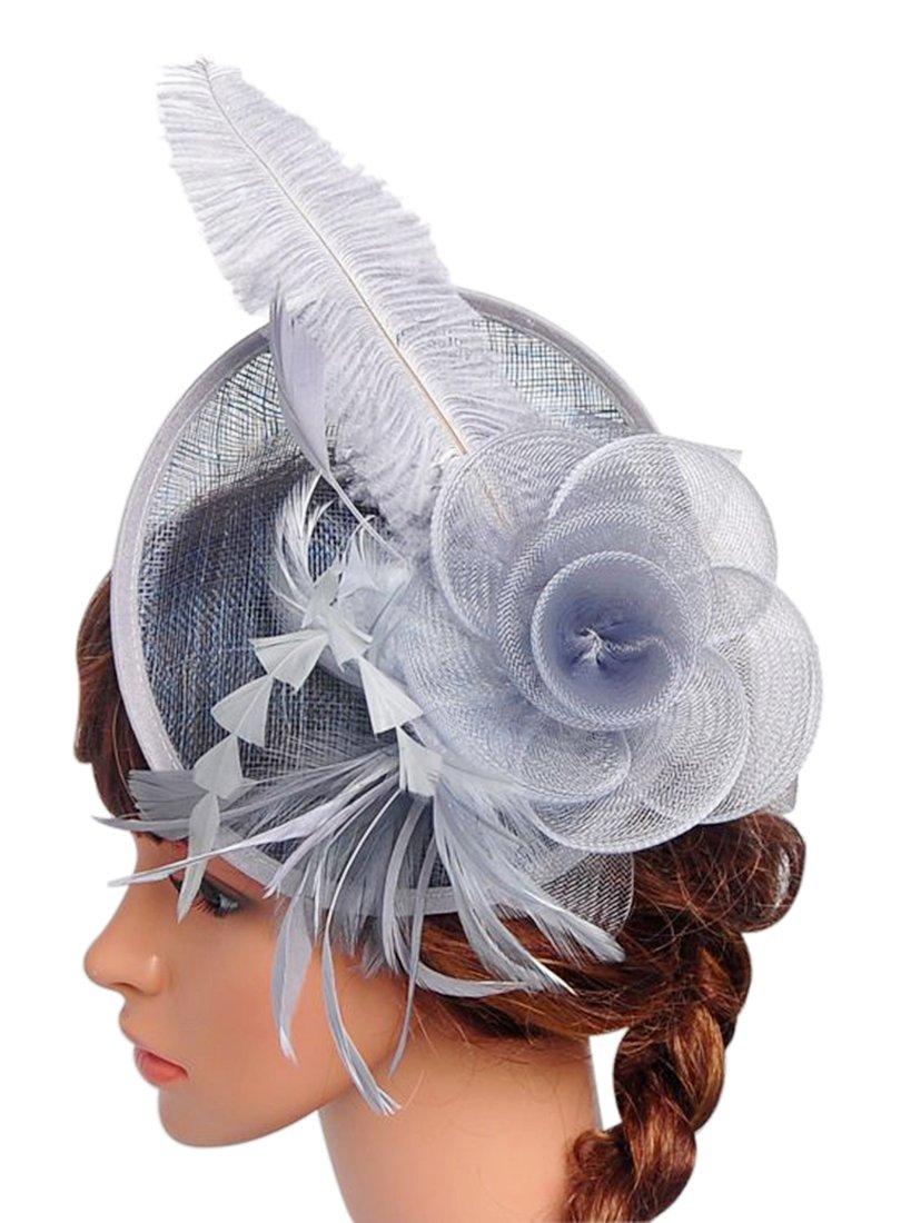 ef7796bc080 Z X Sinamay Fascinator Headband Mesh Feather Flower Cocktail Pillbox Hat