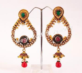 Indian Traditional Antique Earrings Kundan Polki Jumka Earring Whole Online Jewelry Imitation