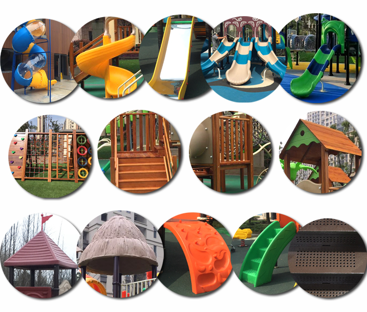 New designs of plastic and wooden slides in playground equipment slides or park slides