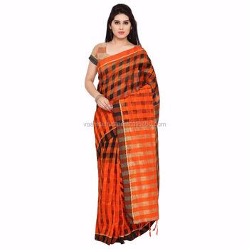 1541a3ce5a7f69 2017 New Design Orange And Black Color Square Block Pattern Cotton Silk  Jacquard Women Saree