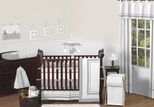 Sweet Jojo Designs 9-Piece Contemporary White and Navy Modern Hotel Baby Boy Girl Unisex Bedding Crib Set