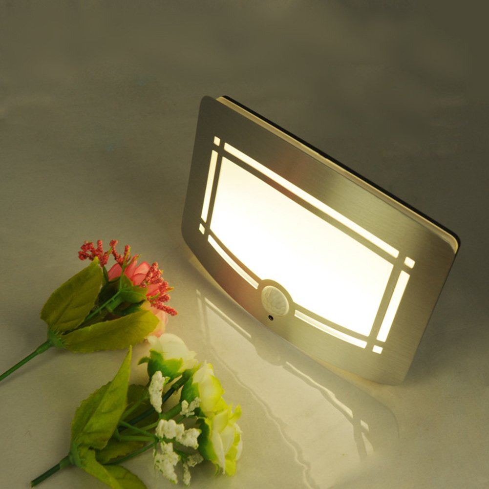 Zehui Battery Powered LED Night Light Home Porch Bedroom Lighting Warm White Infrared Motion Sensor Wall Light
