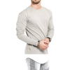 Men long Line Curved Hem Long Sleeve T Shirt with Side Zippers