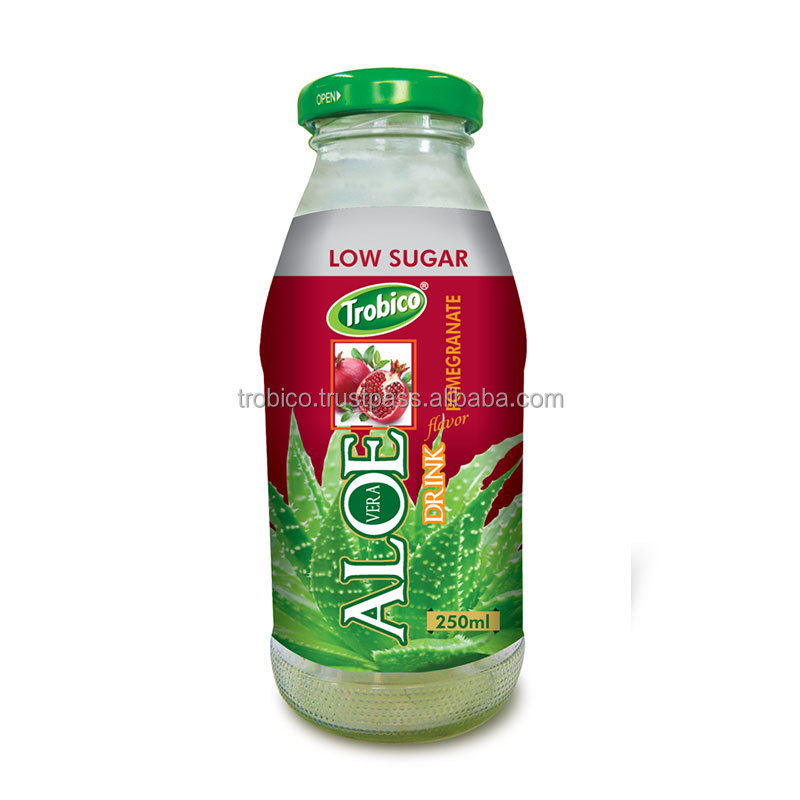 250ml Glass Bottle Low Sugar Aloe Vera With Pomegranate Flavor From VietNam's Farm
