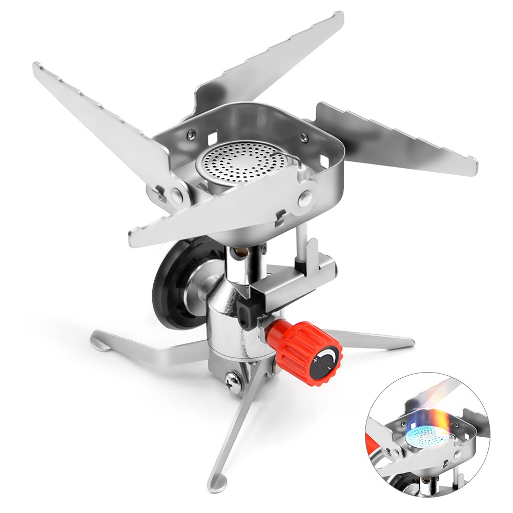 Camping Stove, AQQEF Ultralight Collapsible Backpacking Stoves with Piezo Ignition 3000W & Windproof