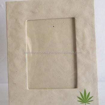 Decoration 100% hemp paper wood free printed handmade fancy photo frame