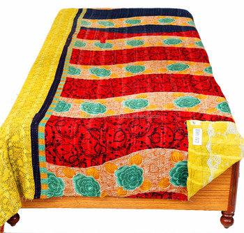HAND BLOCK PRINT SINGLE KANTHA BEDSPREAD QUILT THROW INDIAN BLACK COLOR HANDMADE ETHNIC