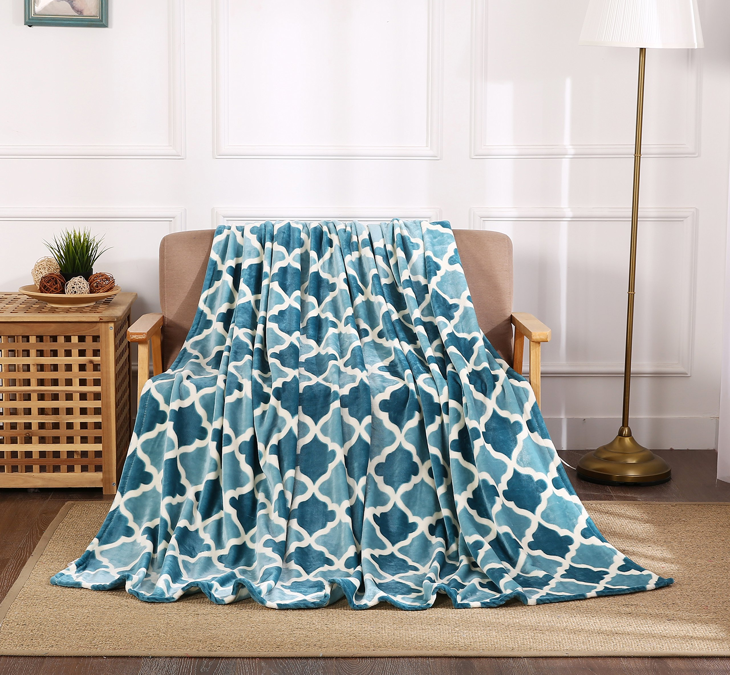 All American Collection New Super Soft Printed Throw Blanket (Throw Size, Teal/Aqua Trellis)