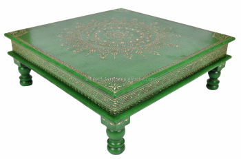 Indian Wooden Side Table Meenakari Painted Square Coffee Pooja End Table