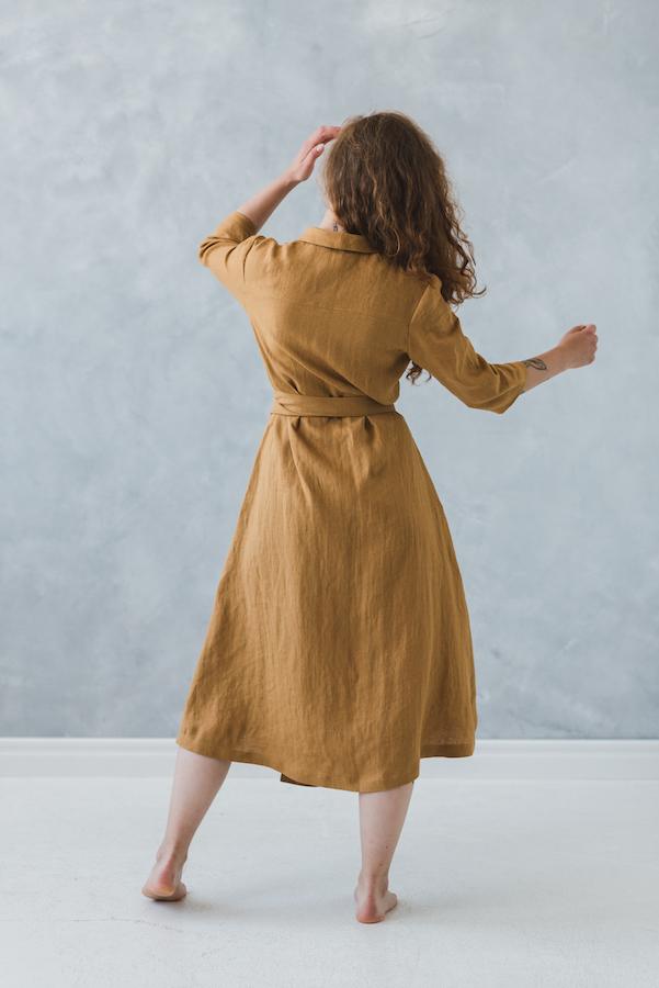 100% Linen Gaun/Lembut Linen Gaun dengan Sabuk