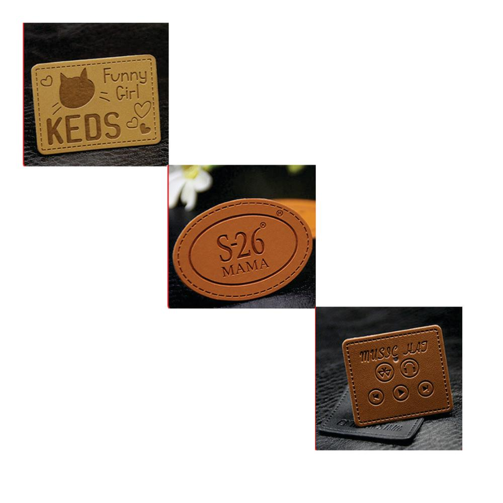 Custom embossed pu branded jeans leather patch labels with your logo wholesale buy jeans leather label designgarments leather back patch