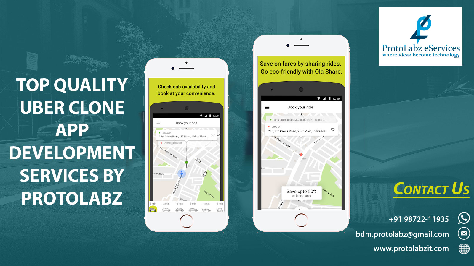 Develop Uber App Clone with Same Features | Uber Clone, Taxi Booking App & Software Development by ProtoLabz eServices