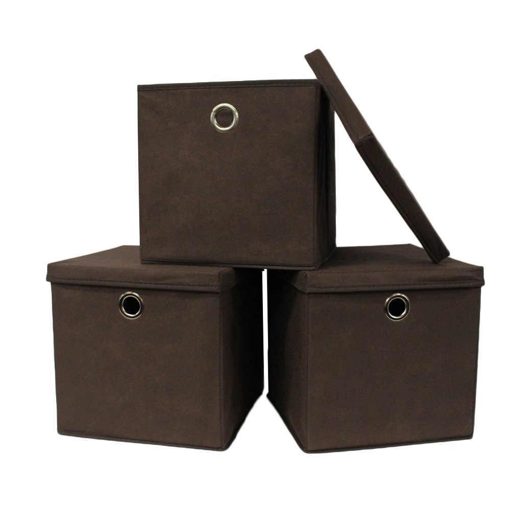 Pezin & Hulin Set of 3 Foldable Storage Boxes with Lid, Cube Basket, Fabric Storage Organizer Box for Cloth, in Home,Cabinet, Shelves, Dormitory etc, Eco-Friendly Cloth with Metal Handle (Brown)