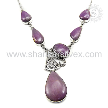 Glowing phosphosiderite gemstone necklace handmade jewelry 925 sterling silver jewellery exporter