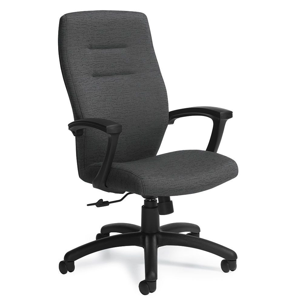 """Synopsis Fabric High Back Conference Chair Granite Fabric/Black Base Dimensions: 24.5""""W x 26.5""""D x 43.5""""H Seat Dimensions: 19.5""""Wx19.5""""Dx16.5-20.5""""H Back Dimensions: 19""""Wx25.5""""H Weight: 41 lbs"""