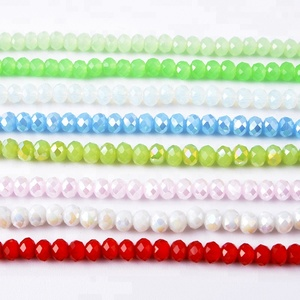 Yiwu Flat Back Faceted Glass Beads For Decorating, Colour Rondelle Glass Beads