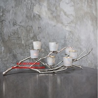 Silver Metal Branch 7 Candle Holder With Glass hurricane