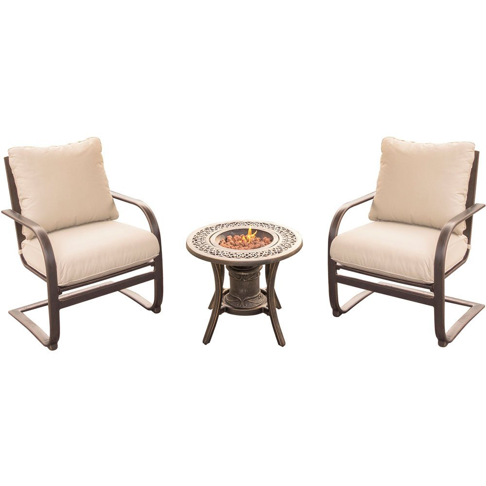 Summer Nights 3-Piece Fire Pit Chat Set in Tan with Two C-Spring Chairs and a 10,000 BTU Fire Pit Side Table