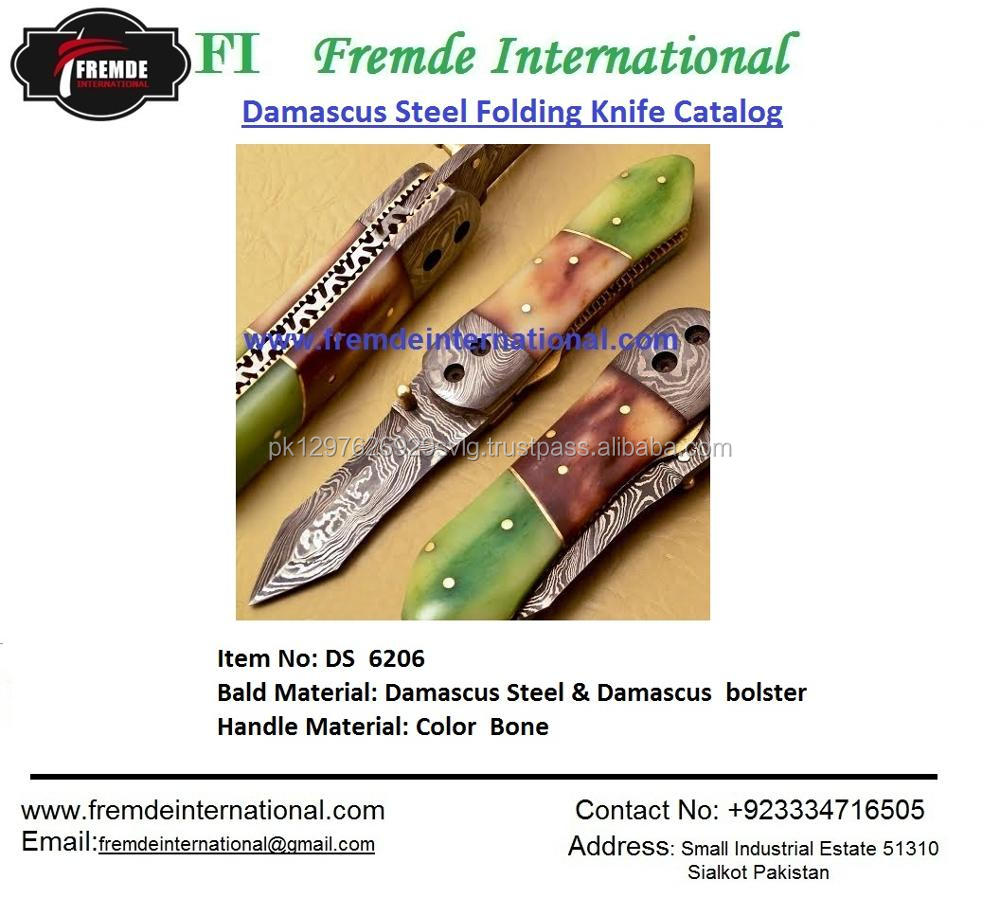 Damascus Steel Folding Knife & Brass engraved bolster High Quality Hand Made Fish type Pocket Folding Knife