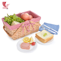 Oversized Rectangular Woven Bamboo Picnic Basket/ Basket Picnic Wholesale