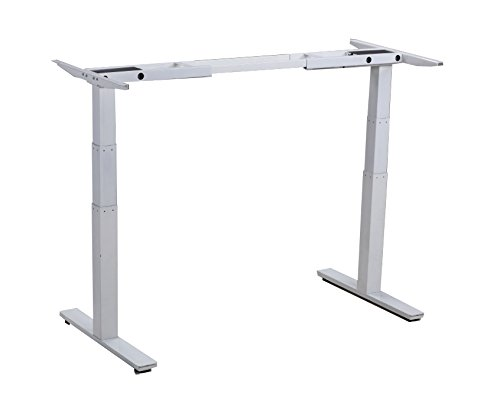 Rise Up Electric Adjustable Height & Width Standing Desk Frame. Ergonomic Sit to Stand Office Desk with 2 Motors. Programmable Memory Height Settings
